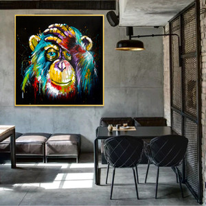 Wholesale canvas prints for kids room resale online - Thinking Monkey Wall Art Canvas Abstract Animals Pop Art Canvas Paintings Wall Decor Pictures For Kids Room