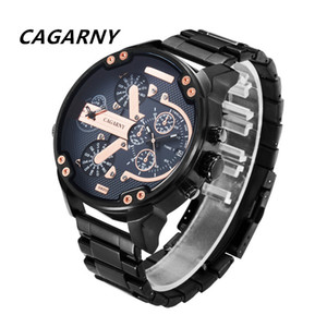 Wholesale Luxury sports Men's Watch Man Date Dual Times Analog Quartz Watch Men Brand Cagarny Real Leather Strap D6820 Miltiary Relogio Masculino New