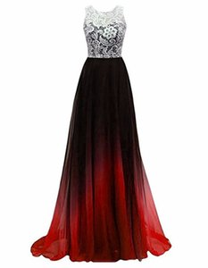 Wholesale 2019 Sexy Gradient Chiffon Princess Lace A Line Party Gowns With Buttons Plus Size Long Formal Evening Celebrity Dresses BE18