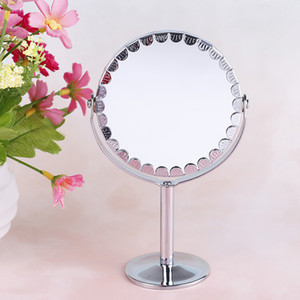 Wholesale Portable LED Lighted Makeup Mirror Dual Sided Round Shape LEDs Rotating Cosmetic Mirror Stand Magnifier