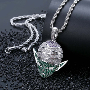 Wholesale Dragon Ball Z Character Piccolo Pendant Necklace Hip Hop Iced Out CZ Gold Silver Color Men Women Charms Chain Jewelry Gift