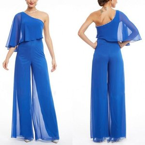 2019 Pool Blue One Shoulder Prom Jumpsuits Dress Elegant Chiffon With Beading Mother Of The Bride Dress Suit Plus Size Vestidos Madre Novia