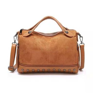 New rivets vintage polished leather Boston handbag brand designer high class single-shoulder cross body motorcycle bag shopping bag shopping on Sale