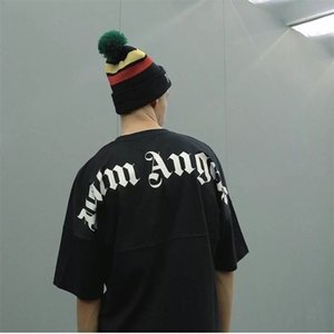 Wholesale 18FW Palm Angels T shirt Fashion New Pattern Black White Oversize Logo Round Neck Short Sleeve Tee Men And Women Tshirt HFWPTX231