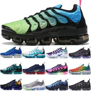 Wholesale 2020 aurora green TN Plus mens luxury designer sneakers White Blue lemon lime Grid Print spirit teal be true bumblebee fashion women shoes