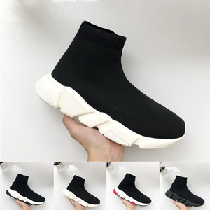 Wholesale New Speed Trainer Luxury Designers Shoes Party Black White High Sock Shoes Mens Womens Fashion Boots Triple Black Casual Shoes Size