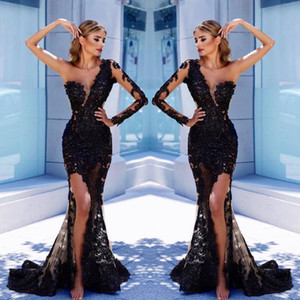 Wholesale Black Evening Dresses One Shoulder Lace Appliques Side Split Sweep Train Long Sleeve Prom Dress Custom Mermaid Formal Party Gowns