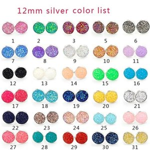 Wholesale Designer mm Resin Scale Druzy Drusy Earrings Silver Gold plated Round stainless steel Handmade Stud for Women Jewelry