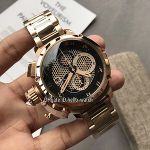 Wholesale Left Handed mm U U51 Chimera Bronze Black Skeleton Dial Miyota Quartz Chronograph Mens Watch Rose Gold Steel Bracelet Stopwatch