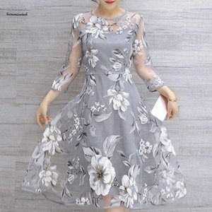Wholesale Womens Hollow Out Dress Floral Print Mini Dresses Female Sundress Vestidos A Line De Festa Organza Curto Designer Clothes