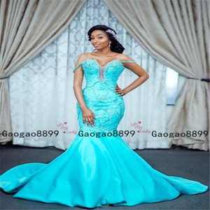 Wholesale 2020 Luxury off the shoulder Prom Dresses mermaid Plus Size Cheap stain with lace appliques Arabic African Pageant Formal Evening dress