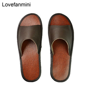 Genuine Cow Leather slippers couple indoor non-slip men women home fashion casual single shoes PVC soft soles spring summer 515 Y200107