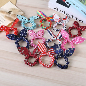 Wholesale Hair Band Cute Polka Dot Bow Rabbit Ears Headband Girl Ring Scrunchy Kids Ponytail Holder Hair Accessories mixed colors
