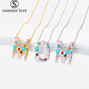 Wholesale Hot Sale Colorful Initial Letter Pendant Necklace for Women A Z alphabet Personalized Mother s Day Jewelry Gifts