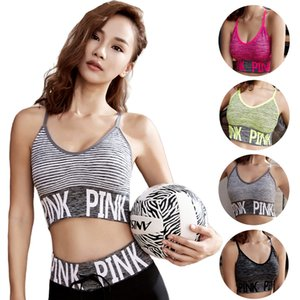 Fashion-Women Breathable Shockproof Padded Letters Pattern Midriff-baring Tank Tops T-shirts Seamless Fitness Crop Tops Waistcoat 2018