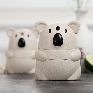Wholesale Automatic Toothpick Holder Pocket Container Wheat Straw Cartoon Koala Toothpick Storage Box Back Push Open Toothpick Dispenser
