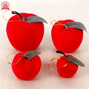 Wholesale decorating christmas trees resale online - christmas tree Pendant Red apple foam Flocking Accessories decorate Articles cm cm cm cm Pendants factory Direct selling pj4 p1
