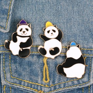 Cute and Funny Panda Alloy Brooch Shirts Jeans Pins Brooches Bags Hats Cartoon Chinese Panda Badges for Women Men Gift