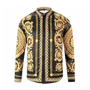 Brand New Men's Dress Shirts Fashion Harajuku Casual Shirt Men Luxury Medusa Black Gold Fancy 3D Print Slim Fit Shirts on Sale