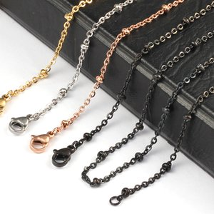 Wholesale 20 mm silver gold rose gold black Color Stainless Steel Ball Station Bead Chain for Locket Pendant Necklace