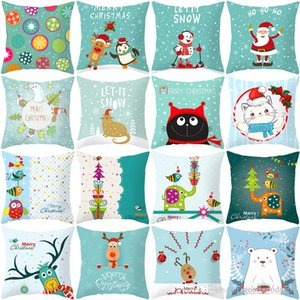 Wholesale 2019 Christmas peach suede pillowcase cartoon printed sofa hug pillowcase cushion set Christmas decorations without pillow SZ492