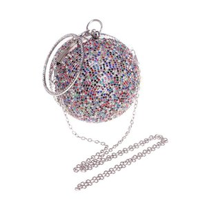 Brand New Gold Beaded Crystal diamond-encrusted evening bags ladies spherical handbags evening purse special occasion wallets on Sale