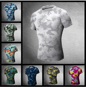 Wholesale Hunting Camouflage Tight T Shirt Men Gym Clothing Compression Army Tactical Combat Shirt Camo Compression Fitness Men Outdoor Sp