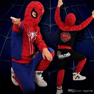 Wholesale Free DHL New Toddler Kids Boys Spiderman Tracksuits Sleeveless Hoodies+Pants 2pieces Suits Autumn INS Childdren Boys Clothing Sets