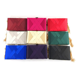 Wholesale 2019 New Silk and Satin Braided tassels Dinner Bag Party Handbags One Shoulder Banquet Bag Red Black Blue Slant Dinner