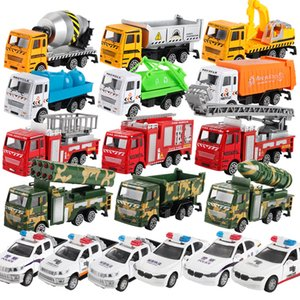 Wholesale 12 styles Cars Model Toys Green Car Police Car Mixer Fire Truck Cement Truck Educational Toy Car ABS Shell Simulation Model