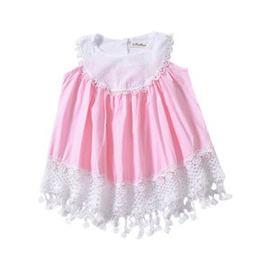 2019 foreign trade children's wear European and American girls summer dress ins explosion models delicate lace sweet lady vest skirt
