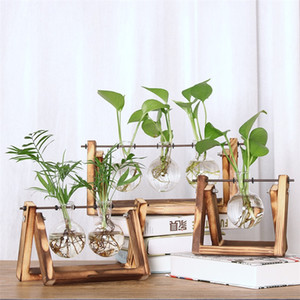 Wholesale vase bamboo for sale - Group buy Creative Hydroponic Plant Vase High Grade Transparent Wooden Frame Container Morden Desktop Decor Ornament Hot Sale fm Ww