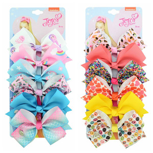 "126 color 5"" hair Bow girl colorful print Barrettes Girl Hair Accessories Rainbow Unicorn kids Unicorn party Christmas hair clipper on Sale"