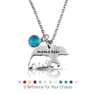 Wholesale Stainless steel Hollow Mama bear necklaces For Women Men crystal Birthday stone Birthstone Pendant chains Fashion Jewelry Gift