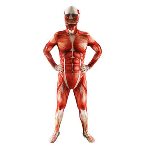 Wholesale Attack On Titan Colossal Cosplay Costumes Adult Lycra Spandex Zentai Bodysuits Muscle Suit Skin Tight Unitard Leotard Anime