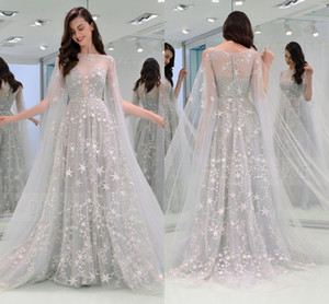 Wholesale line stars for sale - Group buy 2020 Light Gray A line Prom Evening Dresses Long Sleeves Bateau Stars Party Dress Lace Tulle Formal Pageant Gown LFF2205