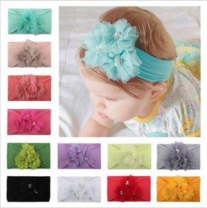 Wholesale 12 color Cute Bows Baby hair band nylon Grid bead flower headband lovely Baby hair accessories