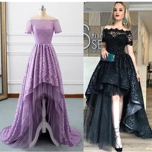 Wholesale Modest High Low Black Prom Dresses 2019 Bateau Short Sleeve A Line Short Front Long Back Lace Evening Party Pageant Gowns Cheap Vestidos