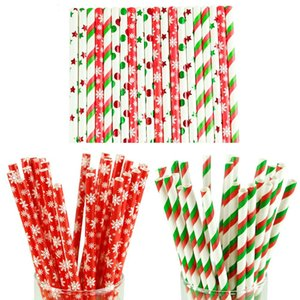 Wholesale 25pcs Paper Drinking Straws Snowflake Paper Straw Merry Christmas Decoration for Home Happy New Year Party Tableware Red