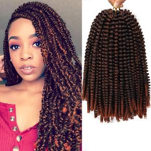 8'' 110g Ombre Hair Extension Crochet Spring Twist Crochet Braids Synthetic Braiding Hair Jamaica Bounce Fluffy Twist