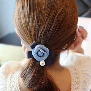 Wholesale 1PC Beautiful Cowboy Cloth Bowknot Pearl Flower Elastic Hair Ring For Women Jeans Fabric Floral Hair Accessories