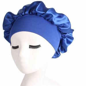 1 2 5 10PCS 58cm Solid Color Shower Caps Long Hair Care Women Satin Bonnet Cap Night Sleep Hat Silk Head Wrap Adjust Shower Caps