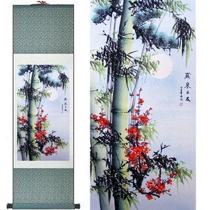 Wholesale Bamboo Painting Home Office Decoration Chinese Scroll Painting Pine Trees, Bamboo And Yellow Plumprinted Painting