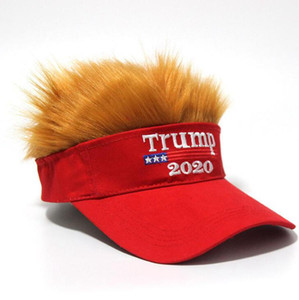 Wholesale adjustable wigs resale online - Trump Hair Hat Trump Letter Embroidery Funny Snapback Adjustable Wig Hip Hop Unisex Visor Cap OOA7577