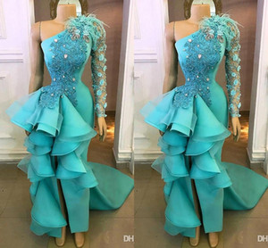 Elegant Sheath Prom Dresses One Shoulder High Side Split Handmade Flowers Ruffles Evening Dress Appliques Beaded Formal Party Gowns on Sale