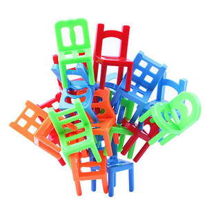 Wholesale 18pcs set Plastic Balance Toy Stacking Chairs for Kids Desk Play Game Educational Toys For Children Doll Accessories Gift
