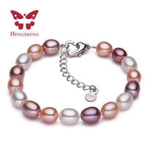 2019 Hot 925 Sterling Silver Natural Freshwater Pearl Strand Bracelets For Women Summer Bohemia Oval Pearl Bracelets 18cm Length
