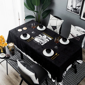 Wholesale entry tables for sale - Group buy Black Entry Velvet Table Cloth Waterproof Creative Nordic Dining Table Tablecloth Simple Modern Print Tables Cover Cloth