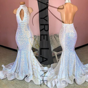 Reflective 2020 High Neck Backless Sequined Prom Dresses Celebrity Evening Gowns Graduation Party for Girl