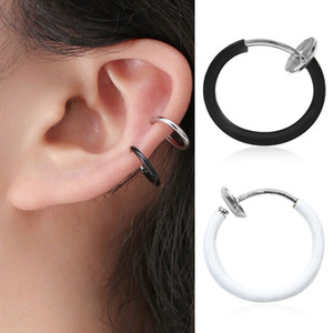 Sitaicery Body Jewelry Fake Nose Ring Goth Punk Lip Ear Nose Clip On Fake Septum Piercing Nose Ring Hoop Lip Hoop Rings Earrings